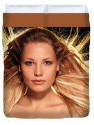 Portrait Of Beautiful Woman Face With Glowing Golden Blond Hair Duvet Cover