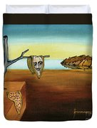 Portrait Of Dali The Persistence Of Memory Duvet Cover