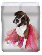 Portrait Of Dog Wearing Tutu Duvet Cover