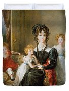 Portrait Of Elizabeth Lea And Her Children Duvet Cover by John Constable