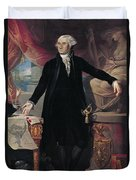 Portrait Of George Washington Duvet Cover by Joes Perovani