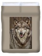 Portrait Of Gray Wolf Duvet Cover