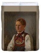 Portrait Of Gunild Olsdatter From Tinn Duvet Cover
