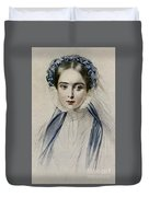 Portrait Of Her Majesty Queen Victoria As A Young Woman By Emile Desmaisons Duvet Cover