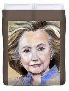 Pastel Portrait Of Hillary Clinton Duvet Cover