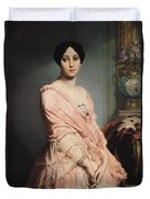 Portrait Of Madame F Duvet Cover by Edouard Louis Dubufe