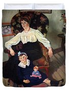 Portrait Of Marie Coca And Her Daughter Duvet Cover by Marie Clementine Valadon