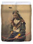 Portrait Of Oglala Sioux Council Chief Bone Necklace Duvet Cover