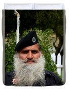 Portrait Of Pakistani Security Guard With Flowing White Beard Karachi Pakistan Duvet Cover