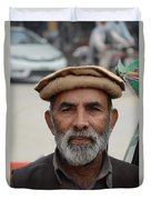 Portrait Of Pathan Tuk Tuk Rickshaw Driver Peshawar Pakistan Duvet Cover