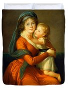 Portrait Of Princess Alexandra Golitsyna And Her Son Piotr Duvet Cover