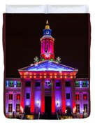 Portrait Of The Denver City And County Building During The Holidays Duvet Cover