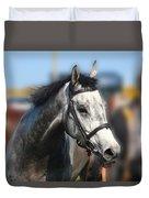 Portrait Of The Grey Race Horse Duvet Cover