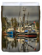 Portrait Of The Ucluelet Trawlers Duvet Cover