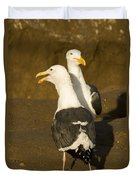 Portrait Of Two Seagulls On A Beach Duvet Cover