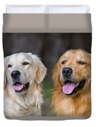 Portrait Of Two Young Beauty Dogs Duvet Cover