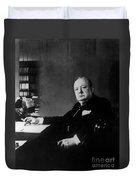 Portrait Of Winston Churchill  Duvet Cover