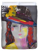 Portrait Of Woman With Vintage Hat Duvet Cover