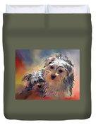 Portrait Of Yorkshire Terrier Puppy Dogs Duvet Cover