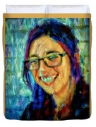 Portrait Painting In Acrylic Paint Of A Young Fresh Girl With Colorful Hair In A Library With Books  Duvet Cover
