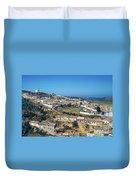 Portugese Hillside Village Duvet Cover