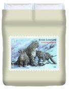 Postage Stamp - Snow Leopard By Kaye Menner Duvet Cover