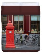 Postbox And Bicycles In Front Of The Diamond Museum In Bruges Duvet Cover