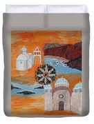 Postcard From Santorini Duvet Cover