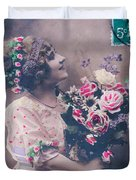 Postcard Girl With A Bouquet Duvet Cover