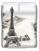 Postcards And Letters From Paris Duvet Cover