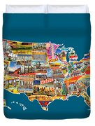 Postcards Of The United States Vintage Usa All 50 States Map Duvet Cover