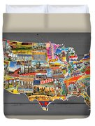 Postcards Of The United States Vintage Usa Lower 48 Map On Gray Wood Background Duvet Cover