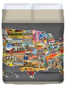 Postcards Of The United States Vintage Usa Map On Gray Wood Background Duvet Cover