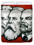 Poster Depicting Karl Marx Friedrich Engels And Lenin Duvet Cover