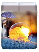 Girl With Umbrella Duvet Cover