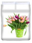 Pot Of Pink And Violet Tulips Duvet Cover