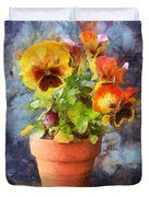 Potted Pansy Pencil Duvet Cover