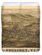 Poultney Vermont Map Vintage Duvet Cover
