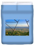 Power Lines Los Angeles Skyline Duvet Cover