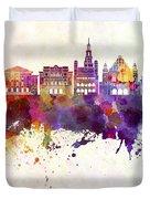 Poznan Skyline In Watercolor Background Duvet Cover