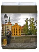 Prague Accordian Player On Charles Bridge Duvet Cover