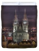 Prague At Night Duvet Cover