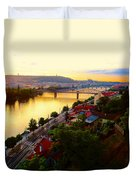 Prague At Sundown Duvet Cover