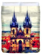 Prague Church Of Our Lady Before Tyn Watercolor Duvet Cover