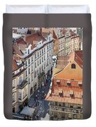 Prague Red Rooftops In The Old Town Duvet Cover
