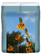 Prairie Cone Flowers Against Blue Sky Vertical Number One Duvet Cover