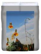 Prairie Cone Flowers Against Blue Sky Vertical Number Two Duvet Cover