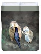 Prairie Dogs And A Bird Eating Duvet Cover