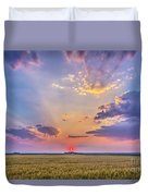Prairie Sunset With Crepuscular Rays Duvet Cover