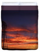 Prairie Sunset With Windmill Duvet Cover